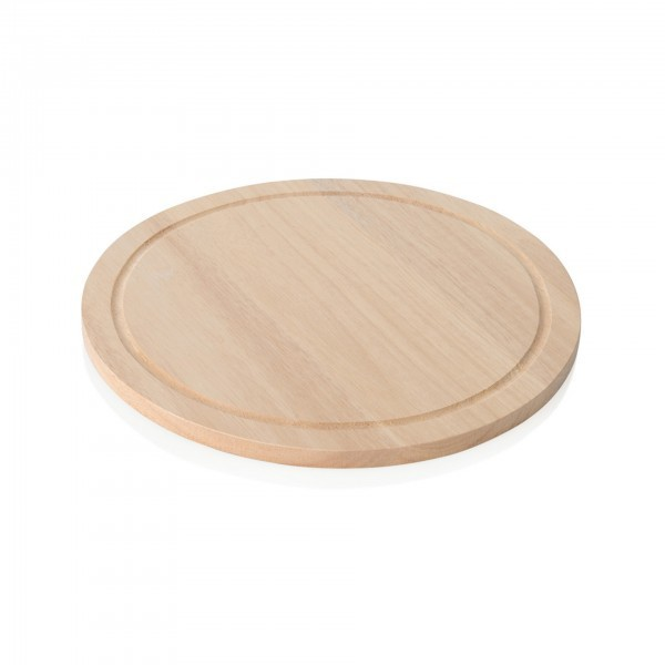 Pizzateller - Holz - natur - mit Saftrille