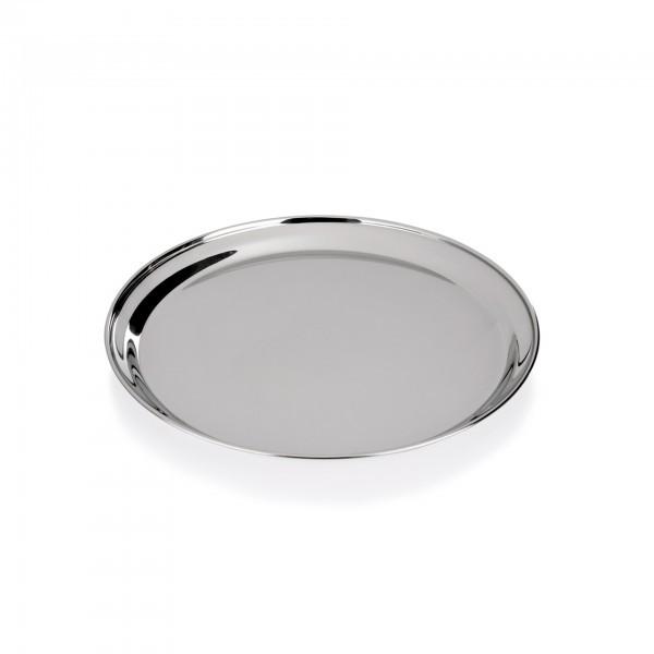 Tablett - Chromnickelstahl - rund - mit bordiertem Rand