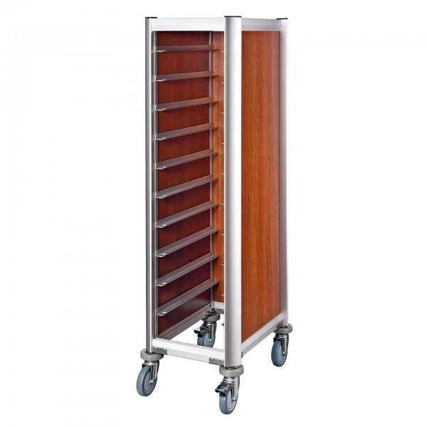 Tablettwagen - Aluminium - dunkle Holzoptik - passend für 10 Tabletts - premium Qualität