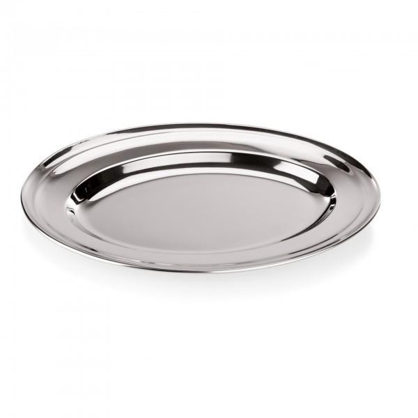 Servierplatte - Chromnickelstahl - oval - passend für Backform 22 bis 32 cm