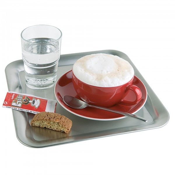 Serviertablett - Edelstahl - matt poliert - viereckig - Serie Kaffeehaus - APS 30119