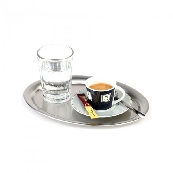 Serviertablett - Edelstahl - matt poliert - oval - Serie Kaffeehaus - APS 30111