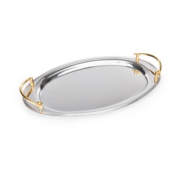 Tablett - Edelstahl - oval - goldfarbene Griffe